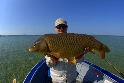Cameron Mortenson with a 34-pound carp