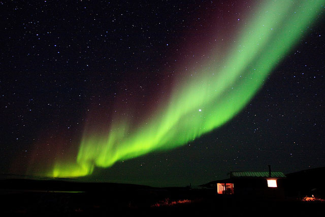 Frank Wood, Northern Lights Over the Cabins