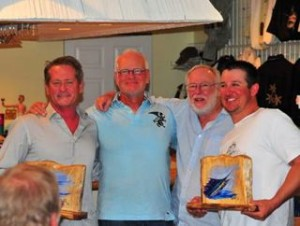 2014 Islamorada SailFly Champions (left to right) Capt. Rob Dixon, Brian Devries, Tournament Director Sandy Moret and Jesse Lebeouf