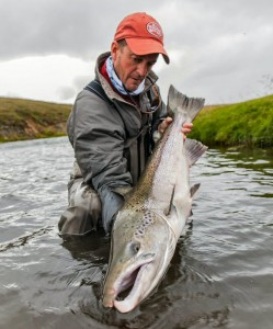 Jeff Currier, Bauer Pro Advisor, with an Atlantic salmon, Iceland.